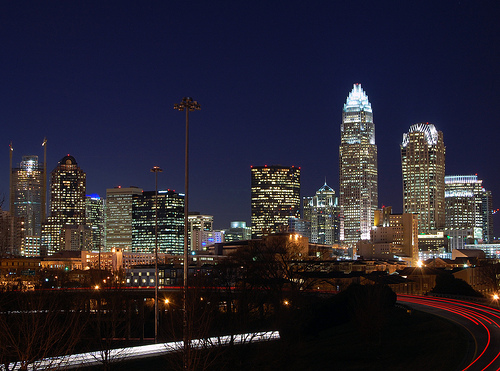 """Charlotte Skyline."" Belmont, Charlotte, NC, US, January 8, 2007. Available from: Flickr Commons user James Willamore."