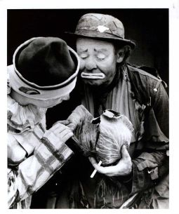 Photo of Emmett Kelly, Circus Clown, in Raleigh, NC. Image courtesy of NC Museum of History, call #: H.1957.63.20.