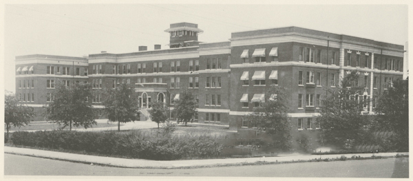 """City Memorial Hospital, 1924."" The building was leased to the Advancement School. Image courtesy of Digital Forsyth."
