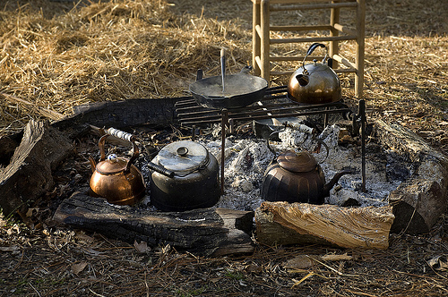Battle of Bentonville reenactment. Civil War campfire. North Carolina Department of Cultural Resources.