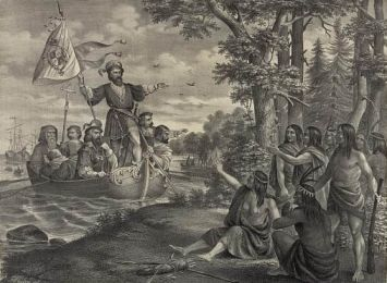 """Landing of Christopher Columbus in America, at San Salvador, October 12th A.D. 1492."" Image courtesy of Library of Congress."