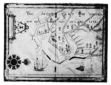 "(click to view larger) ""Nicholas Comberford's 1657 map, The South Part of Virginia Now the North Part of Carolina."" Image courtesy of North Carolina Office of Archives and History via LearnNC."