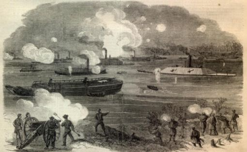 """The Rebel Iron-Clad Fleet Forcing the obstructions in James River.–[Sketched by A. R. Waud.]"