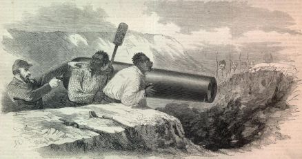 "Caption Reads: "" A Rebel Captian Forces Negroes to Load Cannon Under the Fire of Berdan's Sharp Shooters- as seen through a telescope from our lines, and sketched by Mr. Mead."" Harper Weekly, May 10, 1862."