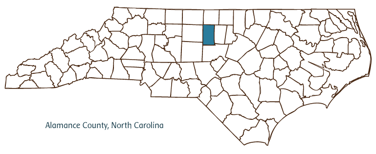 NC map highlighting the location of Alamance County