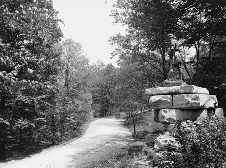 "Daniel Boone blazed trails for the Transylvania Company to open areas of settlement in the west. ""Daniel Boone monument, Cherokee Park, Louisville, Ky."" Image courtesy of Library of Congress, call #: LC-D4-70036."
