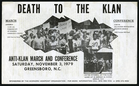 """Death to the Klan flyer, circa November 1979."""