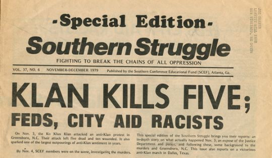 """November 3, 1979: Greensboro Killings."" Newspaper article on the massecre of the Communist Workers Party by the Ku Klux Klan.Image courtesy of University of North Carolina at Chapel Hill Libraries."