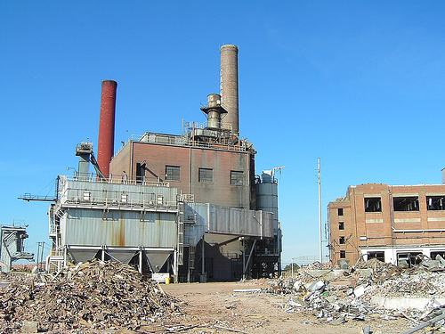 Demolition of Fieldcrest Cannon Mills, Kannapolis, NC, 2004. Image courtesy of Brad Spry.