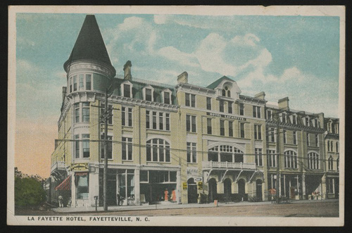 The La Fayette Hotel in Fayetteville was Donaldson's first architectural venture. Image courtesy of East Carolina University.