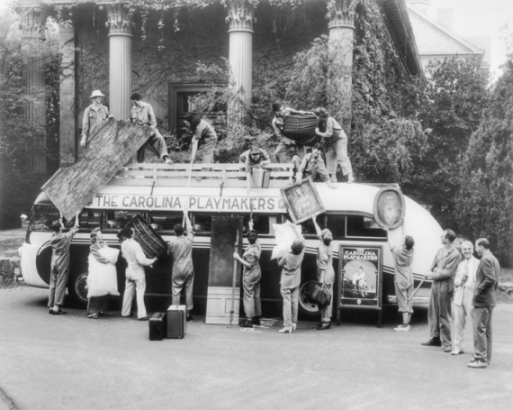 Members of the Carolina Playmakers load a bus with props before leaving on a tour in the fall of 1941. The company, based at the University of North Carolina in Chapel Hill, played an important role in the development of American folk drama and nurtured several generations of North Carolina theater artists. North Carolina Collection, University of North Carolina at Chapel Hill Library.