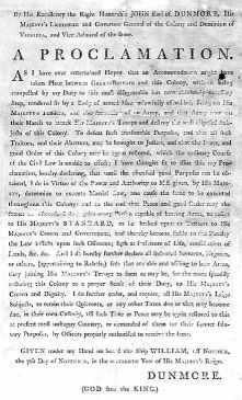 Proclamation of Earl of Dunmore, 1775. Courtesy of PBS.