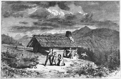 Harper's Weekly illustration from 11 Apr. 1874 showing terrified settlers outside their home on Bald Mountain in Rutherford County during one of the earthquakes that struck the area during the first half of that year. North Carolina Collection, University of North Carolina at Chapel Hill Library.