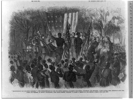 """'Emancipation Day in South Carolina' - the Color-Sergeant of hte 1st South Carolina (Colored) addressing the regiment, after being presented with the Stars and Stripes, at Smith's plantation, Port Royal, January 1."" 1863. Library of Congress Prints and Photographs Division."