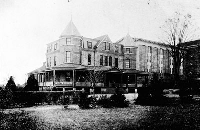 View of Female Annex, Dorothea Dix Hospital 1900. From the General Negative Collection, North Carolina State Archives, call#:  N_81_10_5.Raleigh, NC.