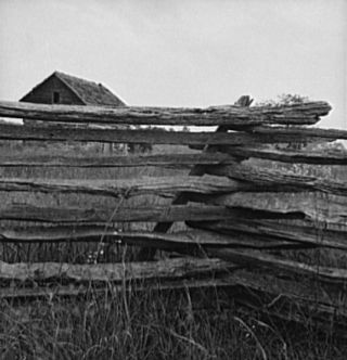 Construction detail of rail fence. Person County, North Carolina, 1939. Image courtsey of Library of Congress.