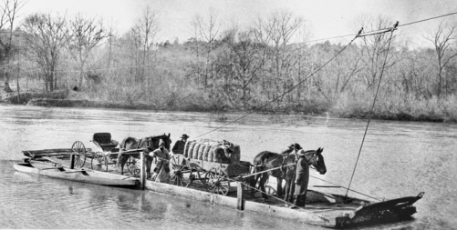 Hannah's Ferry on the Yadkin River between Davie and Rowan Counties, ca. 1900. Courtesy of North Carolina Office of Archives and History, Raleigh.