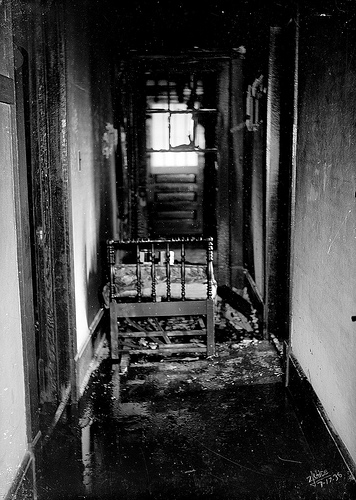 17 July 1936 photo of fire damage in an interior. From the Dunn Area (Lewis White Studio) Photo Collection, PhC.121, North Carolina State Archives, Raleigh, NC, call #:  PhC.121-3.