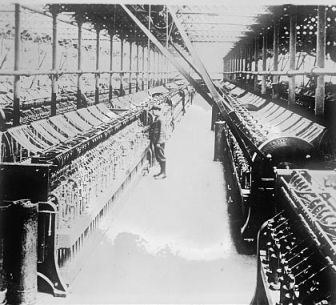 """Flax industry, warping room in a linen mill."" Image courtesy of Library of Congress."