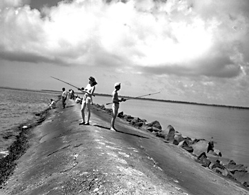 """Fishing at Fort Fisher, no date (c.1940's)."" From Conservation and Development Department, Travel and Tourism Division Photo Files, North Carolina State Archives, Raleigh, NC; call #: ConDev5894D."