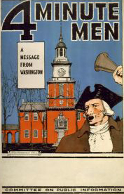 4 Minute men--A message from Washington / H. Devit Welsh, 1917. Image courtesy of Library of Congress.