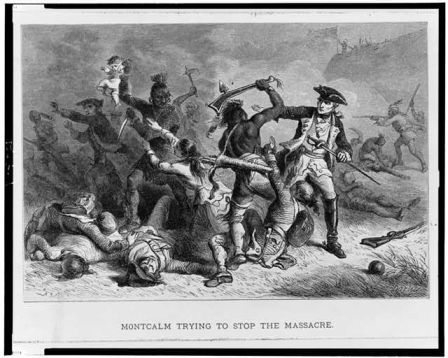 """Montcalm trying to stop the massacre."" Engraved by Bobbett, Alfred, ca. 1824-1888(9).  Summary from LOC: ""Montcalm trying to stop Native Americans from attacking British soldiers and civilians as they leave Fort William McHenry."" Image courtesy of Library of Congress."