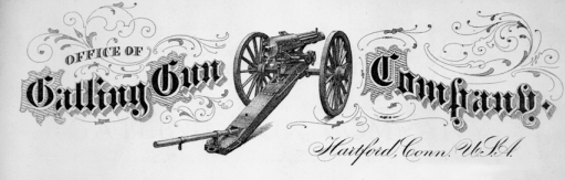 A view of the Gatling gun as shown on company letterhead, ca. 1875. Courtesy of North Carolina Office of Archives and History, Raleigh.