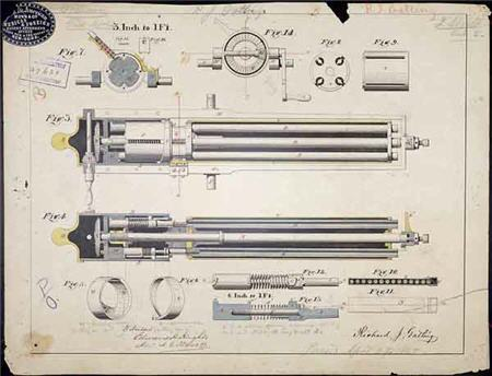 Gatling gun patent drawing