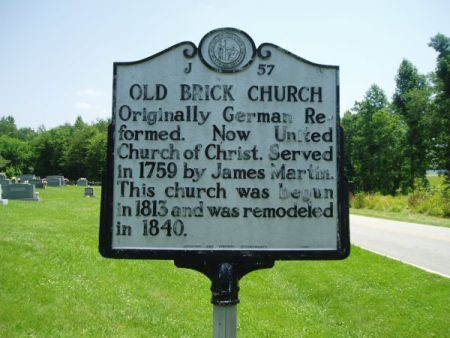"""Old Brick Church,"" NC Historical Marker. Originally German Reformed Church. Image courtesy of the North Carolina Office of Archives & History, call #: J-57."