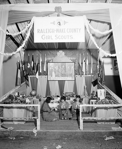 Girl Scout Demonstration at State Fair, Raleigh, NC, October 19, 1946. From the Albert Barden Collection, North Carolina State Archives, Raleigh, NC, call #:  N_53_16_4247.