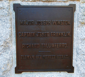 Plaque at the base of a statue to Major Joseph Winston commemorating the 1781 Battle of Guilford Court House