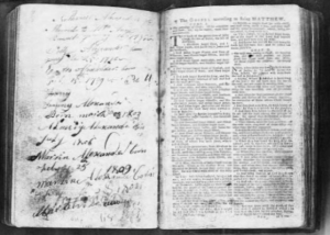 Page spread from Alexander Family Bible record