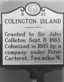 Colington Island NC historical marker, which mentions Peter Carteret's 1665 colonization.