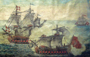 Detail of an ex voto [votive offering] of a naval battle between a Turkish ship from Alger and a ship of the Order of Malta under Langon 1719. Musee de la Legion d'Honneur.