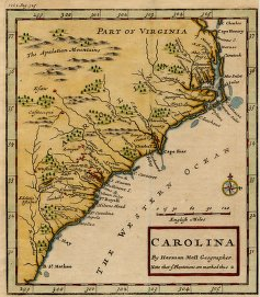 """Carolina"" by Herman Moll, Geographer. Published at the time of Governor Cary's leadership."
