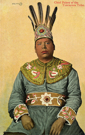 Postcard image of Chief Pelers, Tuscarora Tribe.