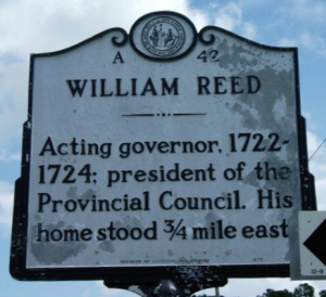 """William Reed"" NC historical marker."