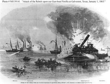 """Attack of the Rebels upon our Gun-boat Flotilla at Galveston, Texas, January 1, 1863.""  Line engraving published in ""Harper's Weekly"", 1863. USS Harriet Lane is shown in the left distance, under attack by the Confederate gunboats Neptune and Bayou City. The grounded USS Westfield is at right, being blown up to prevent capture. USS Owasco is in the center of the view. "" Image courtesy of the  U.S. Naval Historical Center Photograph."