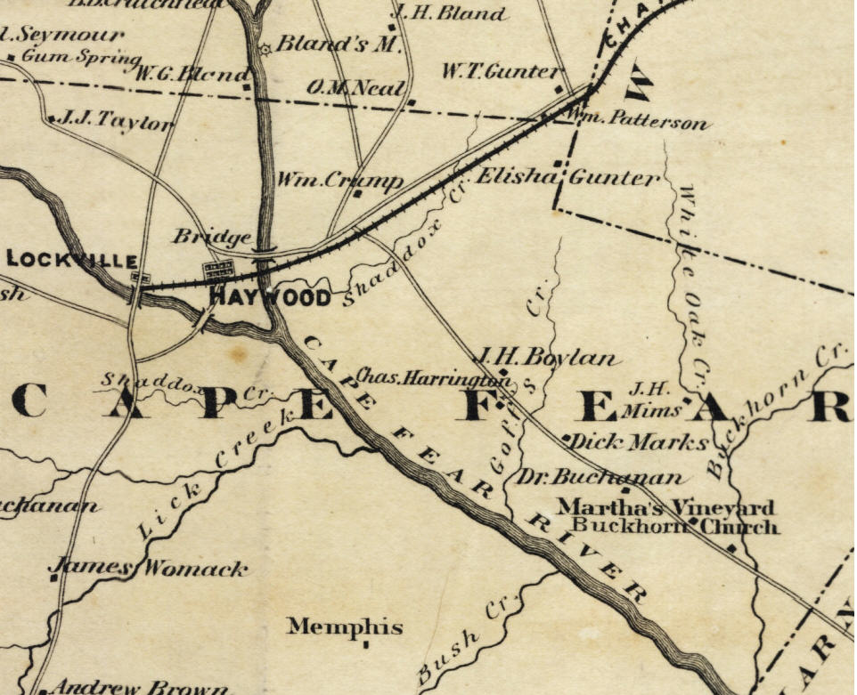 Portion of a 1870 map of Chatham County by Nathan Ramsey showing Haywood's location. Map owned by NC State Archives. Available online in the NC Maps Collection.