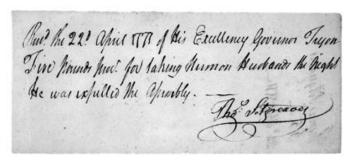 Receipt given to Thomas Sitgreaves for assisting in Herman Husbands' 1771 incarceration. Image courtesy of the North Carolina Office of Archives and History, Raleigh, NC.