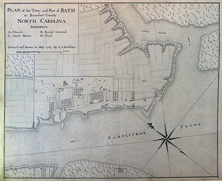 """Plan of the Town and Port of Bath in Beaufort County North Carolina,"" map, May 1769 by C. J. Sauthier.  From the collections of State Archives of North Carolina."