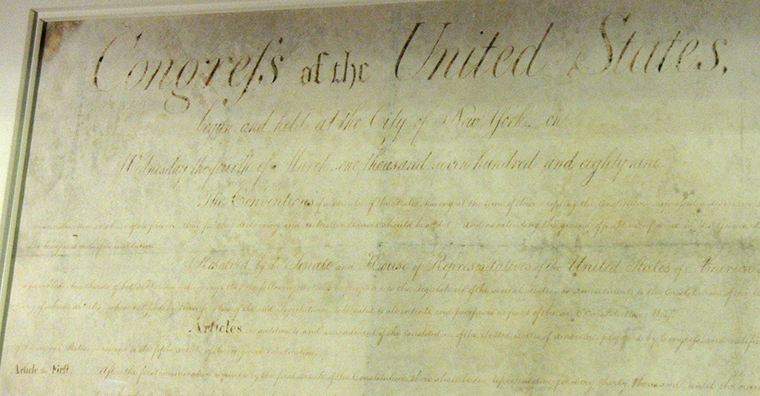 North Carolina's original copy of the Bill of Rights, 2013. Image courtesy Mike Childs.
