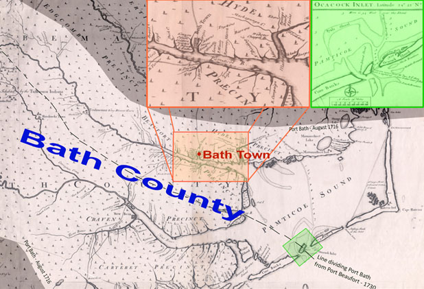 Boundaries for Port Bath - August 1, 1716. Base map: Edward Moseley's 1733 map of North Carolina, provided courtesy of Joyner Library, East Carolina University. Boundary data: Merrens, 1964. Annotated by G. Hookway-Jones and Baylus C. Brooks.  Click for larger version.