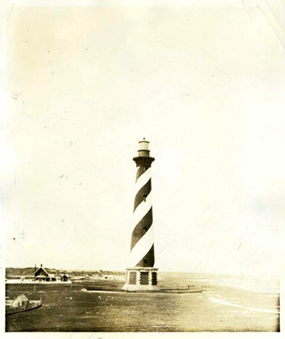 Photograph of the Cape Hatteras Lighthouse, ca. 1920-1940. Item H.1952.96.86 from the collection of the North Carolina Museum of History, used courtesy of NCDNCR.