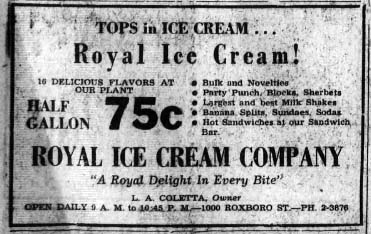 Royal Ice Cream advertisement, from the Carolina Times, August 16, 1958. Presented online at DigitalNC. Used in NCpedia for educational purposes.