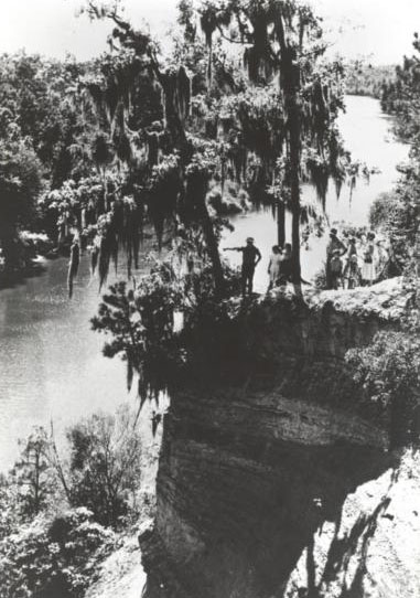 """The Way They Were,"" black and white photograph of Cliffs of Neuse, prior to 1964. Used courtesy of the N.C. Division of Parks and Recreation."