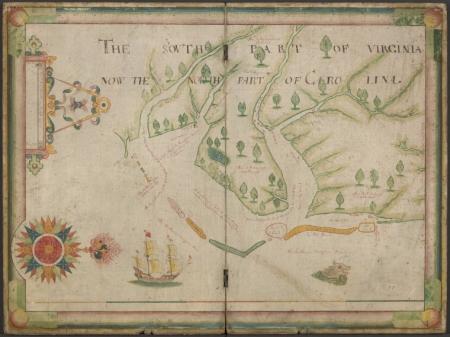 """The south part of Virginia, now the north part of Carolina,"" map by Nicholas Comberford, 1657.  From the collections of the New York Public Library."