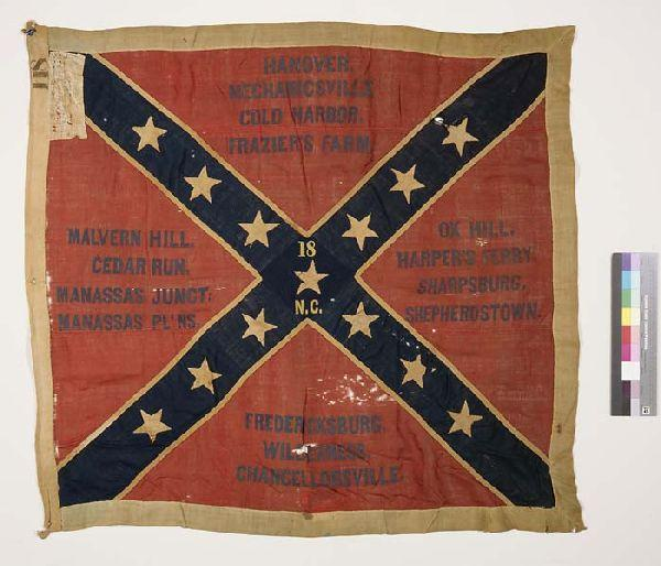 Confederate Battle Flag, associated with the 18th NCT, 1863.  From the collection of the North Carolina Museum of History.  Used courtesy of the North Carolina Department of Cultural Resources.