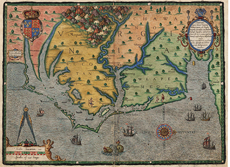 """The carte of all the coast of Virginia,"" by Theodor de Bry, 1590.  The map is a depiction of the North Carolina coast, then known as ""Virginia"",  in 1585. Call no. FVCC970.1 H28w, North Carolina Collection, UNC-Chapel Hill. Presented online at NCMaps."