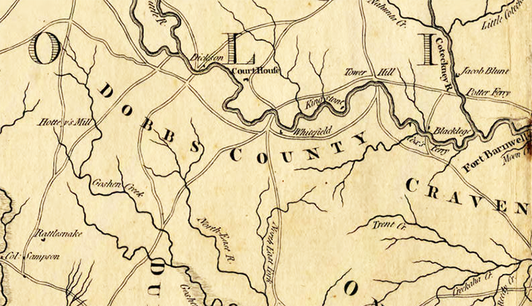 Section of Henry Mouzon's 1775 map of the Carolinas, showing Dobbs County. Image from North Carolina Maps.